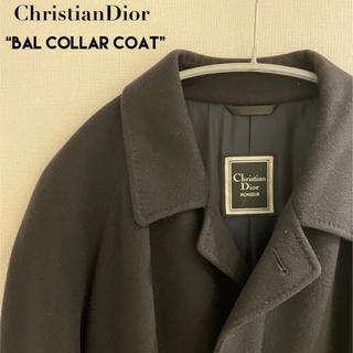 クリスチャンディオール(Christian Dior)の美品 Christian Dior ステンカラーコート カシミヤ100%ブラック(ステンカラーコート)