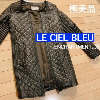 ルシェルブルー(LE CIEL BLEU)のルシェルブルー 黒 レザー ジャケット ノーカラー キルティング タイト(ノーカラージャケット)