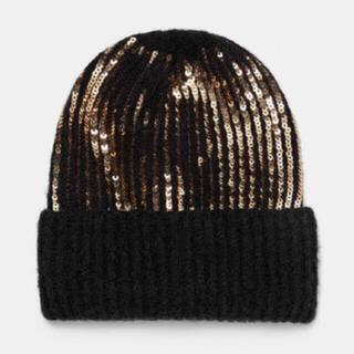 ザラ(ZARA)の新品 ザラ   スパンコール ニット帽(ニット帽/ビーニー)