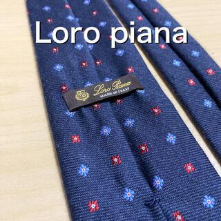 ロロピアーナ(LORO PIANA)の【極上品】Loro piana ネイビー×小紋 カシミア混 ネクタイ(ネクタイ)