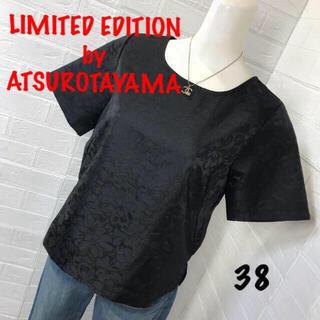 アツロウタヤマ(ATSURO TAYAMA)のLIMITED EDITIONサイズ38光沢のある黒がお洒落 地模様カットソー (カットソー(半袖/袖なし))