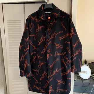 シュプリーム(Supreme)のSupreme Script Logos Wool Overcoat Black(チェスターコート)