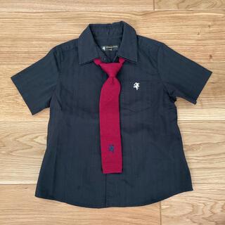 コムサイズム(COMME CA ISM)のコムサエンジェル 半袖黒シャツ110&ネクタイ (ドレス/フォーマル)
