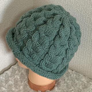 ハンドメイドニット帽♡スモーキーグリーン(帽子)