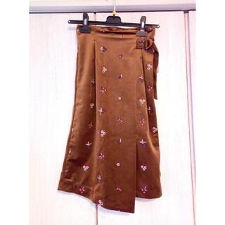 レディメイド(LADY MADE)の新品タグ付き LADY MADE ラップ風ベロアタイトスカート キャメル S(ロングスカート)