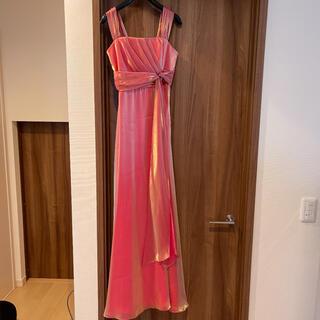 ロングドレス ピンク 光沢 サイズ38 結婚式 ウエディング ドレス(ロングドレス)