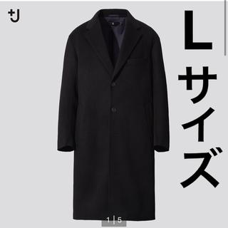 【+J】ブラック カシミヤブレンドオーバーサイズチェスターコート