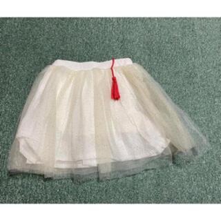 シューラルー(SHOO・LA・RUE)の【新品】シューラルー キラキラチュールスカートパンツ 90㎝(スカート)