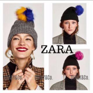 ザラ(ZARA)の未使用 ZARA ニット帽 ポンポン(ニット帽/ビーニー)