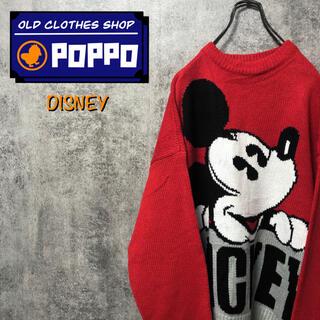 ディズニー(Disney)のディズニー☆ミッキービッグキャラデザインビッグロゴアクリルニット 90s(ニット/セーター)