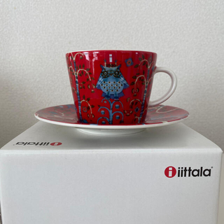 イッタラ(iittala)の【新品】イッタラ タイカ コーヒーカップ&ソーサー レッド(グラス/カップ)