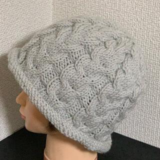 ハンドメイドニット帽♡グレーホワイト(帽子)