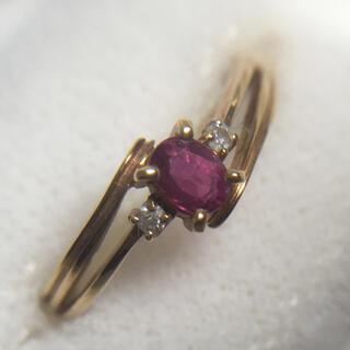 【H285】18金 18K ルビー ダイヤモンド リング(リング(指輪))