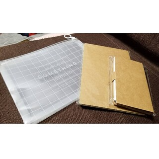 スリーコインズ(3COINS)の3COINS・ノート、付箋セット、スライダーポーチ(ノート/メモ帳/ふせん)