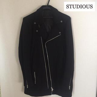 ステュディオス(STUDIOUS)の美品!STUDIOUS ライダースジャケット コート ステュディオス Sサイズ(ライダースジャケット)