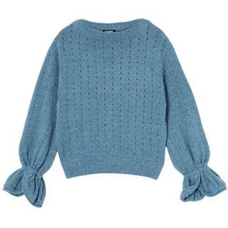 パメオポーズ(PAMEO POSE)のTulip sleeves knit top インディゴブルー未使用¥16060(ニット/セーター)