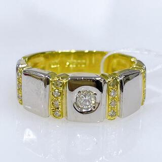 K18 PT900 一粒ダイヤモンド コンビリング(リング(指輪))