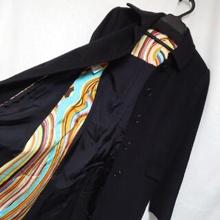ポールスミス(Paul Smith)の美品 ポールスミス ブラックレーベル 裏地がお洒落なロングコート 黒 サイズ40(ロングコート)