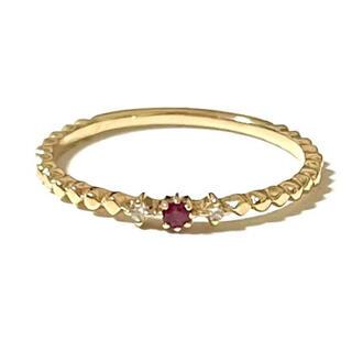 エテ(ete)のJouete ジュエッテ K10 ダイヤモンド ルビー ピンキーリング 5号(リング(指輪))