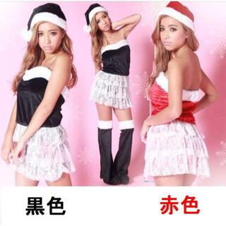 bd62黒色サンタコスプレサンタ衣装ベロア素材 サンタ帽子 レッグウォー4点(衣装一式)