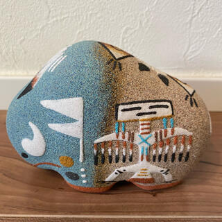 ロンハーマン(Ron Herman)のナバホ族 サンドアートアニマル バッファロー 陶器 HARPO インディアン(置物)