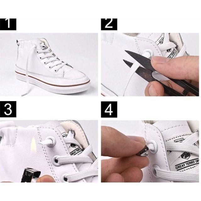 2足分セット(4本) 伸びる靴ひも 結ばない靴ひも ゴム靴ひも 靴紐 ストッパー スポーツ/アウトドアのトレーニング/エクササイズ(ヨガ)の商品写真