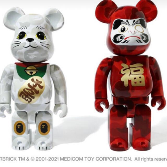 MEDICOM TOY(メディコムトイ)のBE@RBRICK BAPE® 招き猫 & 達磨 400% エンタメ/ホビーのフィギュア(その他)の商品写真