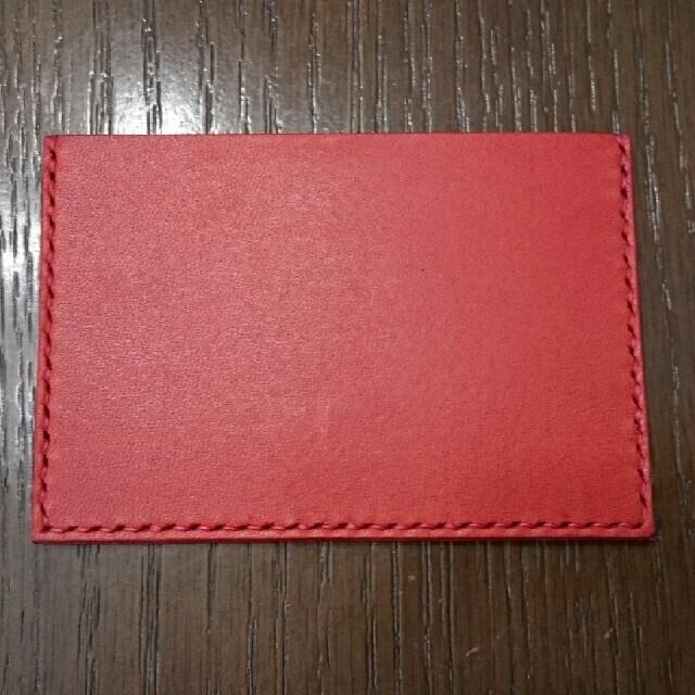 栃木レザー(トチギレザー)の栃木レザー 薄型免許証ケース(レッド) ハンドメイドのファッション小物(その他)の商品写真