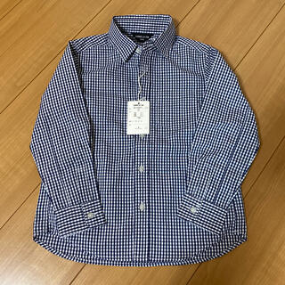コムサイズム(COMME CA ISM)の新品タグ付き コムサイズム ギンガムチェックシャツ 紺色 110(ブラウス)