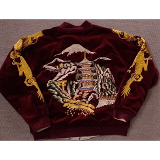 ウエアハウス(WAREHOUSE)のWAREHOUSE リバーシブルスカジャン 手縫い刺繍 五重塔柄 size40(スカジャン)