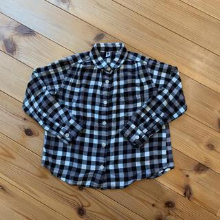 ユニクロ(UNIQLO)のUNIQLO キッズ  110 フランネルチェックシャツ ギンガムチェック(ブラウス)