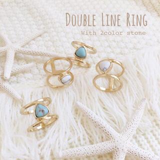 ストーン付きダブルラインリング 2カラー(リング(指輪))