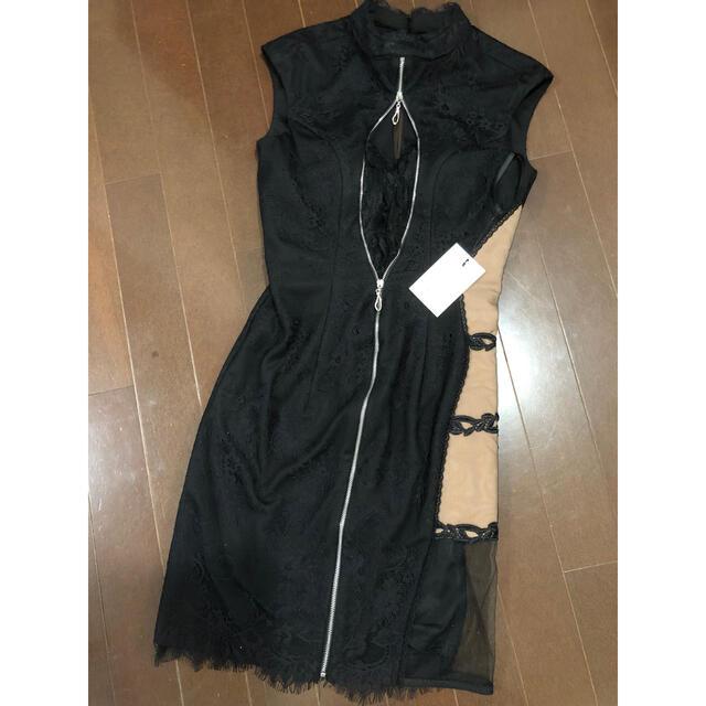 ROBE(ローブ)の片サイドチュール切替×ジップタイトミニドレス レディースのフォーマル/ドレス(ミニドレス)の商品写真