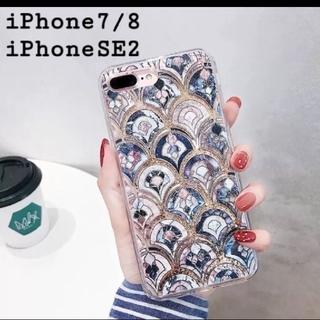 大理石 タイル風 モロッカン グリッター ケース【iPhone7/8 SE2】(iPhoneケース)