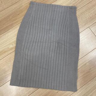 プラステ(PLST)のプラステ PLST グレー タイトニットスカート M(ひざ丈スカート)