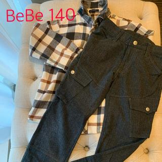 ベベ(BeBe)のBeBe 140cm ネルシャツ&カーゴパンツ(冬物)(ブラウス)