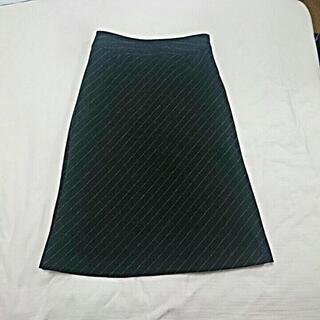 プーラフリーム(pour la frime)のウール混☆ pour la frime 黒 ストライプ スカート(ひざ丈スカート)