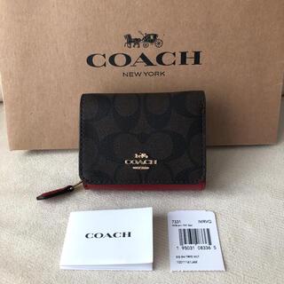 コーチ(COACH)の新品★COACH 2020年秋冬新作 レザー 三つ折り財布 ブラウン×レッド(財布)