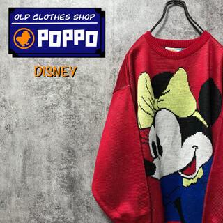 ディズニー(Disney)のディズニー☆ミニー前後ビッグキャラデザインアクリルニット 90s(ニット/セーター)