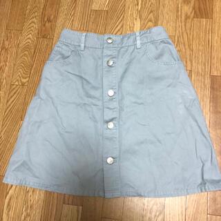 アズノゥアズピンキー(AS KNOW AS PINKY)のアズノウアズ 台形 タイト スカート 前ボタン グレー(ひざ丈スカート)