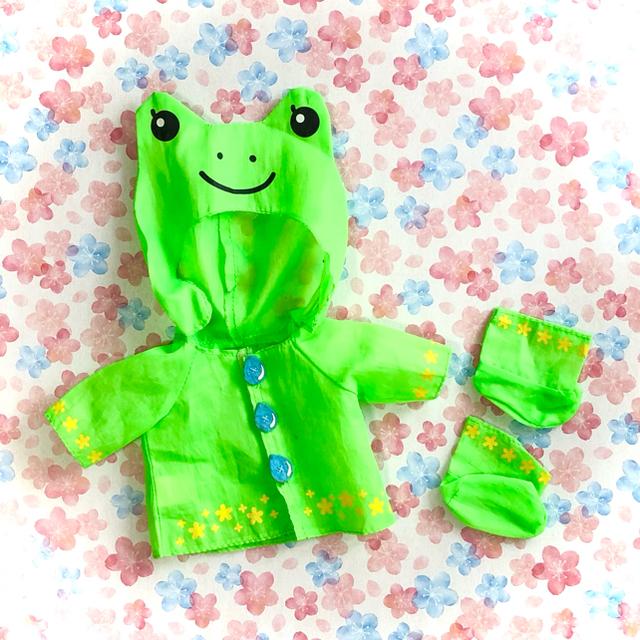 PILOT(パイロット)のメルちゃんの服1・カエルのレインコート キッズ/ベビー/マタニティのおもちゃ(ぬいぐるみ/人形)の商品写真