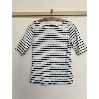 GU/ジーユー/ボーダーリブT(5分袖)/L