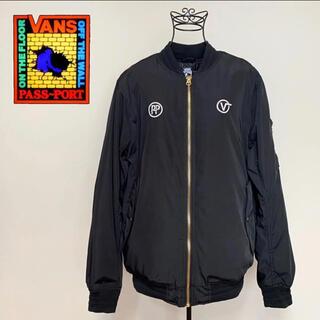 VANS - ☆未使用 バンズ × パスポート バックプリント ロゴ MA-1 ジャケット 黒