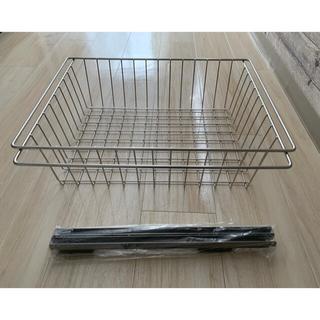 ムジルシリョウヒン(MUJI (無印良品))の無印良品 ステンレスユニットシェルフ 追加用ワイヤーバスケット 1ケ(キッチン収納)