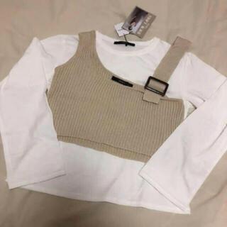 シマムラ(しまむら)の新品未使用タグ付き しまむら ニットビスチェ ロンT セット(Tシャツ(長袖/七分))