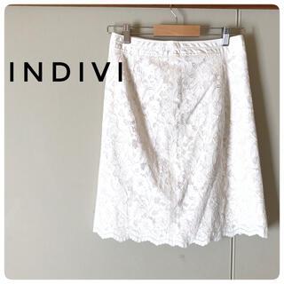 インディビジュアル(INDIVIDUAL)のレースホワイト膝丈スカート(ひざ丈スカート)