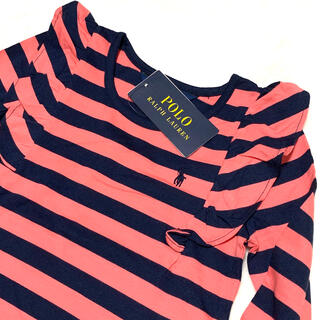 ポロラルフローレン(POLO RALPH LAUREN)の6/120 新品 ショルダーフリル ストライプ ロングスリーブT / ピンク(Tシャツ/カットソー)