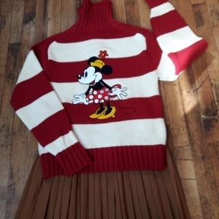ディズニー(Disney)のディズニー、フルジップニットL、太ボーダーミニーちゃんのビッグアップリケ&ロゴ(ニット/セーター)