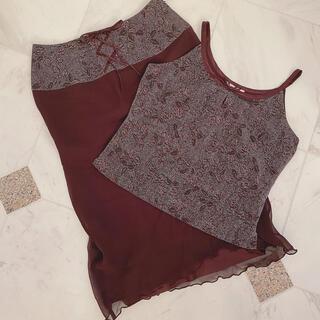 エディットフォールル(EDIT.FOR LULU)の♡vintage violet skirt & camisole♡古着(ひざ丈スカート)