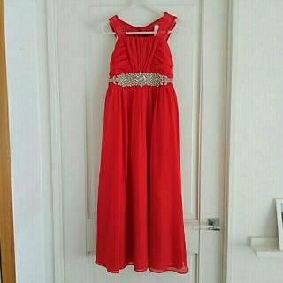ホルターネック子供ドレス ベアトリス 赤 レッド 発表会 キッズ 150~160(ドレス/フォーマル)